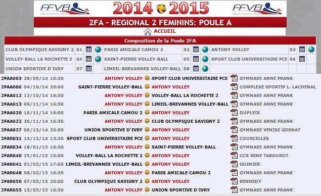 Calendrier Antony Volley F 2014