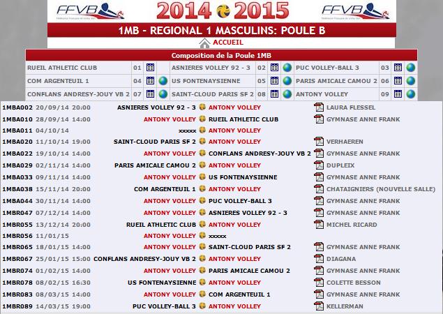 Calendrier Antony Volley M 2014